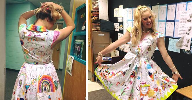 Professora do ensino infantil permite que alunos desenhem em seu vestido no último dia de aula