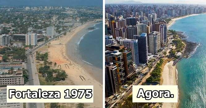 Antes e depois mostrando como cidades famosas mudaram muito com o passar dos anos
