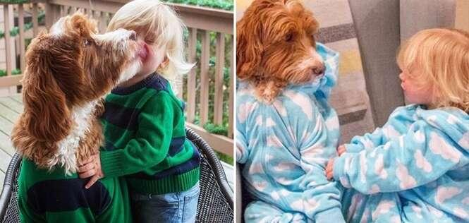 Cão e bebê combinam visual e se tornam sensação na internet