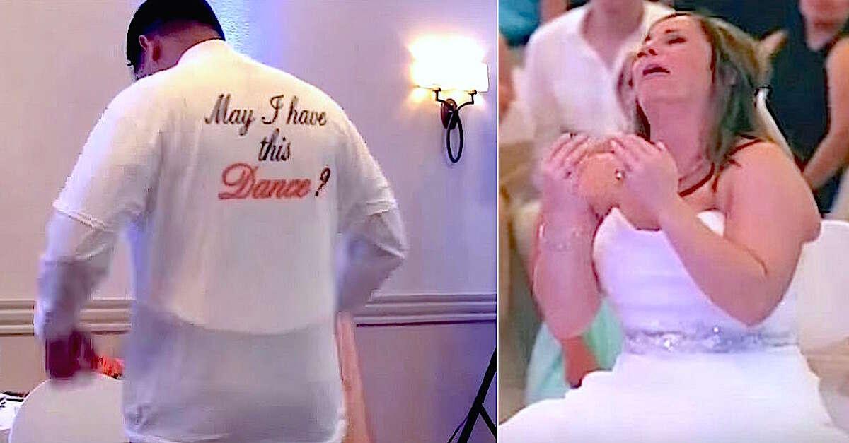 """Noivo faz surpresa para esposa a fazendo dançar """"com pai falecido"""" durante seu casamento"""
