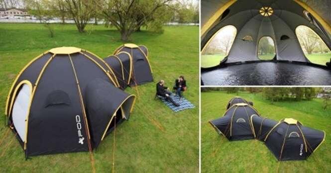 Conheça a barraca familiar que se conecta a outras para manter todos próximos ao acampar