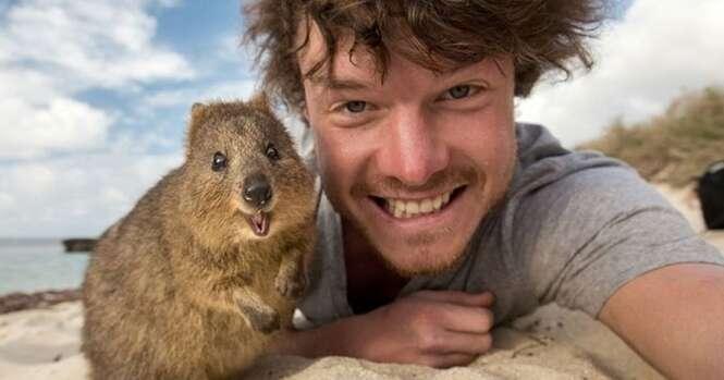 Este jovem é um mestre na arte de fazer selfies com animais