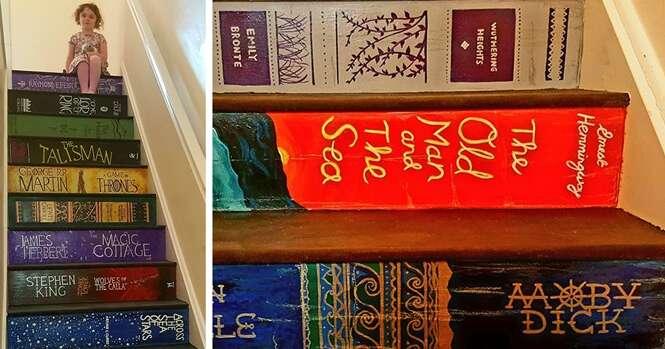 Mulher pinta escadaria com suas capas de livros preferidos