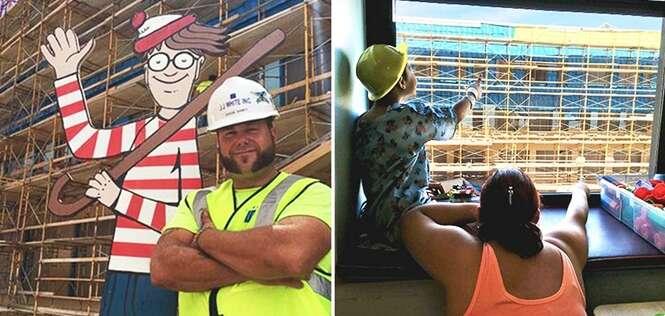 Este homem esconde Wally em uma construção
