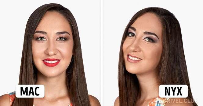 Uma mesma mulher usando 5 maquiagens diferentes