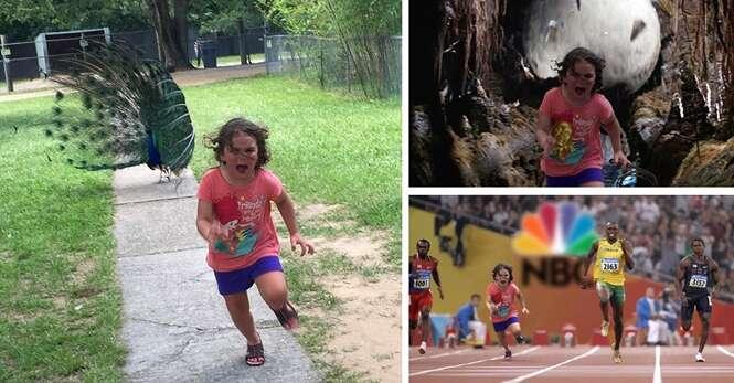 Esta menina tentou fugir de um pavão e acabou virando meme na internet