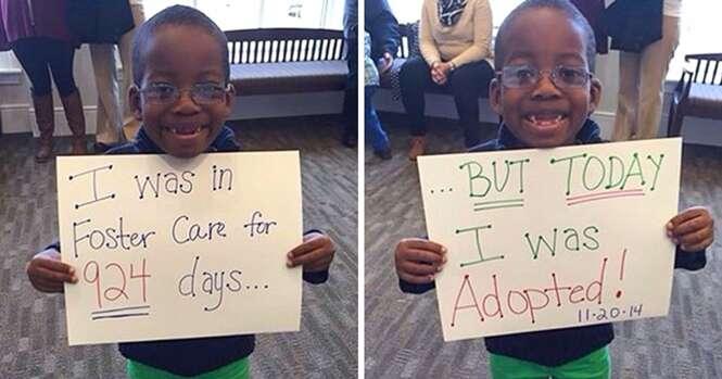 Imagens mostrando a felicidade de crianças e adolescentes ao serem adotados