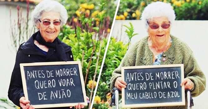 Projeto pergunta a idosos o que sonham fazer antes de morrer e resultado surpreende