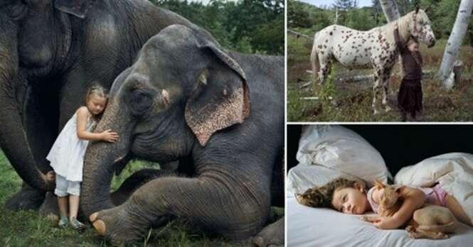 Fotógrafo capta os momentos mais surpreendentes de sua filha com animais