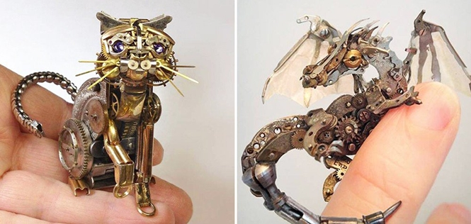 Artista cria esculturas impressionantes com mecanismos de relógios