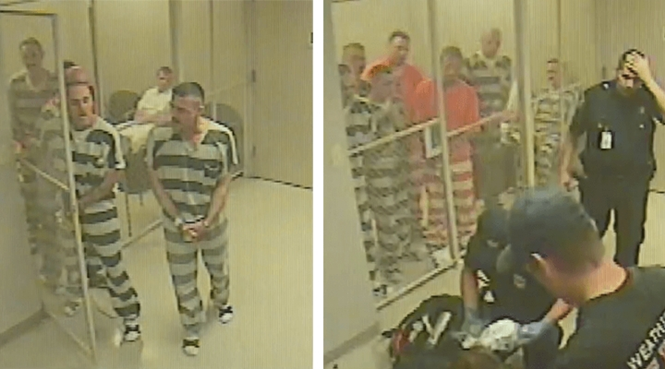 Presos algemados saem da cela para salvar a vida de carcereiro
