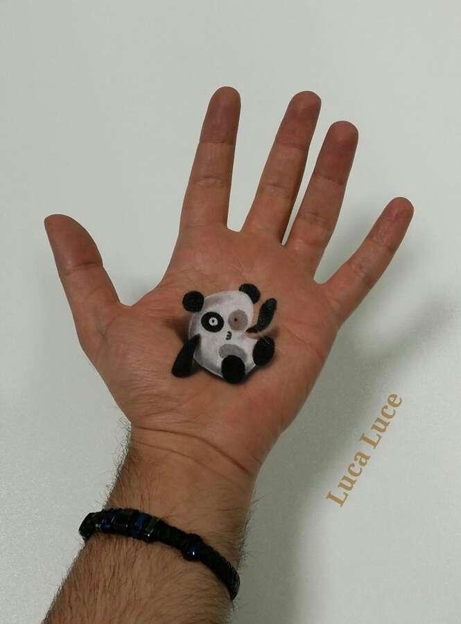 Artista cria ilusão de ótica com pinturas na palma da mão