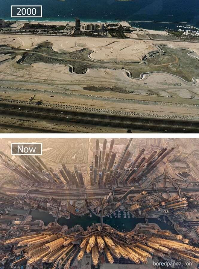 Antes e depois mostrando mudanças de grandes cidades mundiais ao longo dos tempos