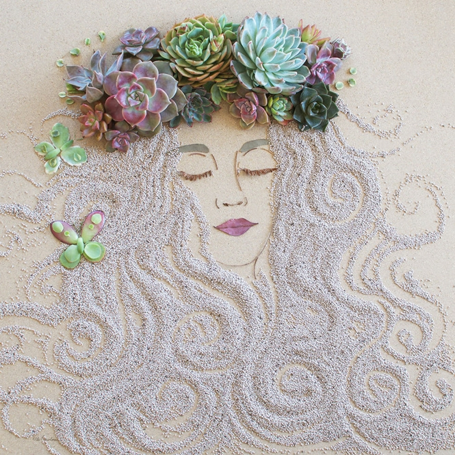 Artistas usam flores e galhos para criar desenhos inspiradores