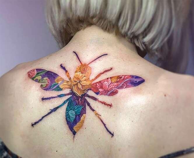 Polonês faz sucesso com tatuagens de dupla exposição