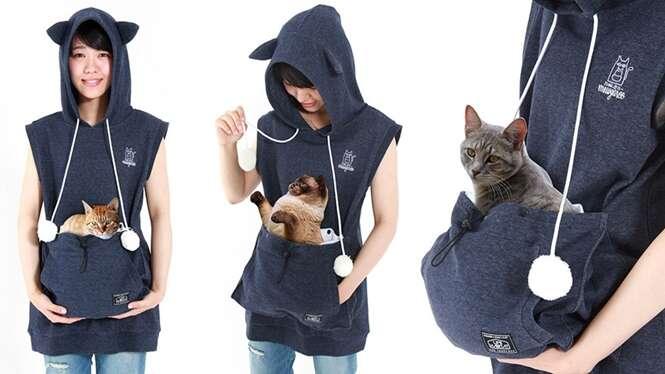 Que tal passear com seu gato usando uma camisa canguru?