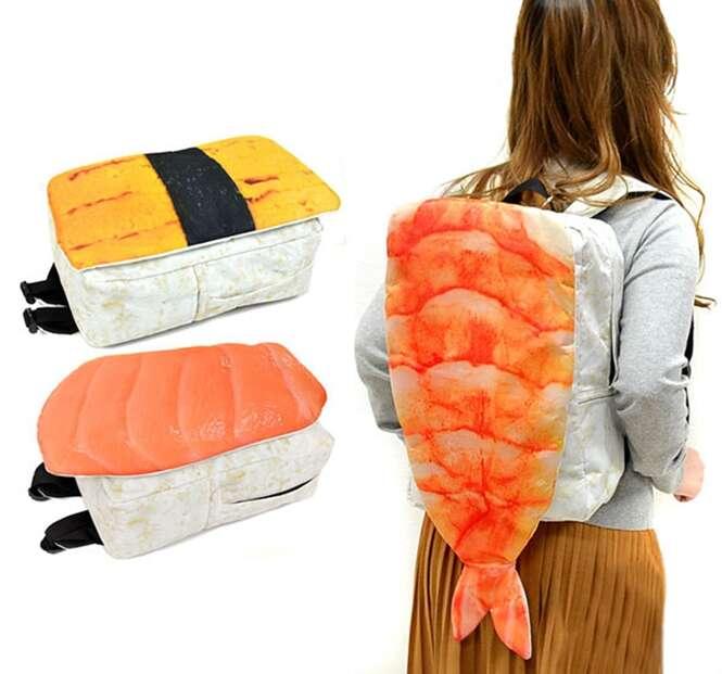 Você usaria uma mochila em formato de sushi gigante?