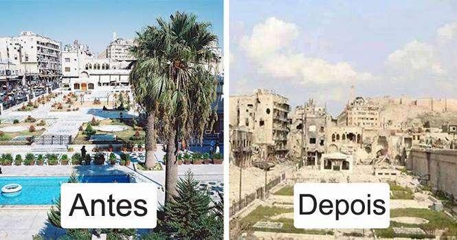 Antes e depois que revelam a destruição da guerra na Síria