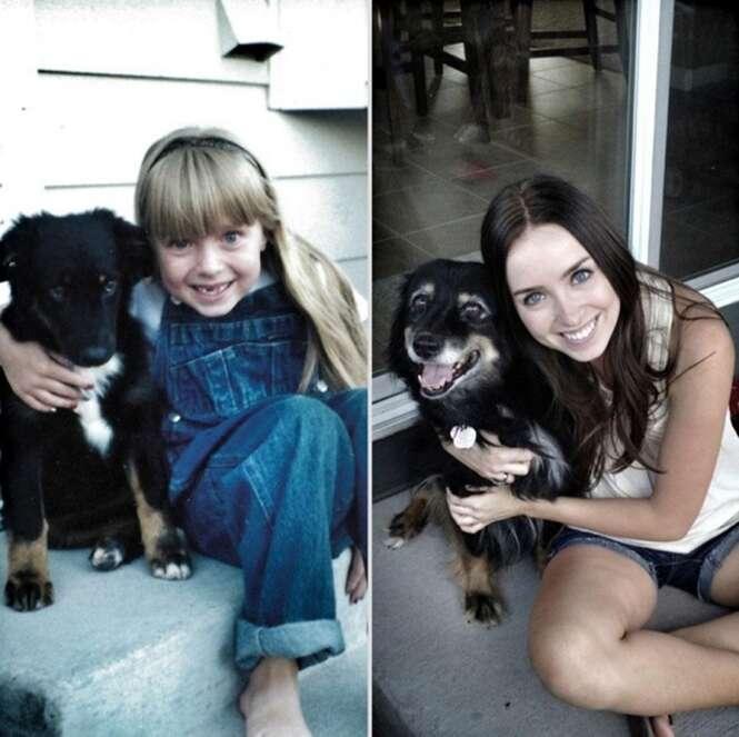 Antes e depois de donos com seus animais de estimação