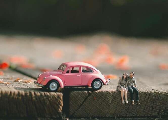 Fotógrafo de casamentos cria sessões de fotos com casais em miniatura