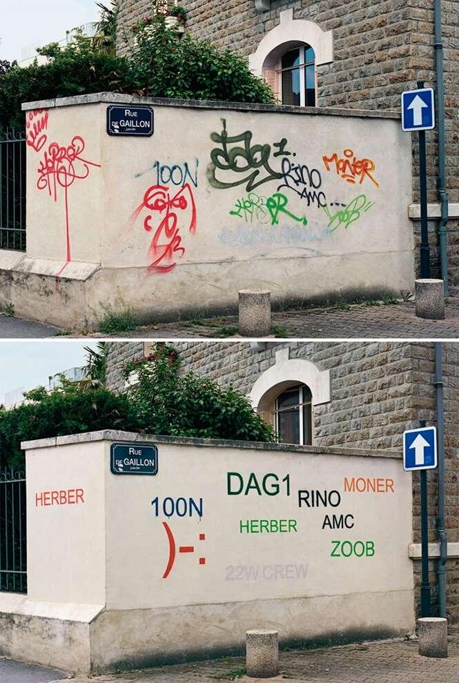 """Francês transforma grafites de rua """"esquisitos"""" em algo legível"""