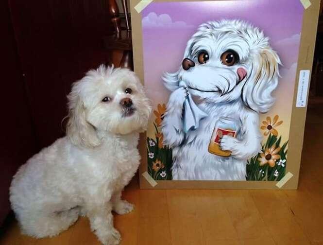 Artista faz sucesso criando desenhos de animais de estimação