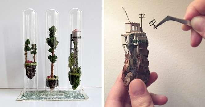 Artista cria incríveis pequenos mundos dentro de tubos de ensaio