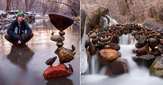 A surpreendente arte com pedras que desafia a gravidade