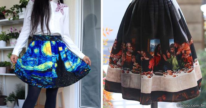 Boutique inova e cria roupas a partir de verdadeiras obras de arte