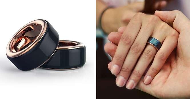 Esse anel permite que você sinta as batidas do coração da pessoa amada de onde estiver