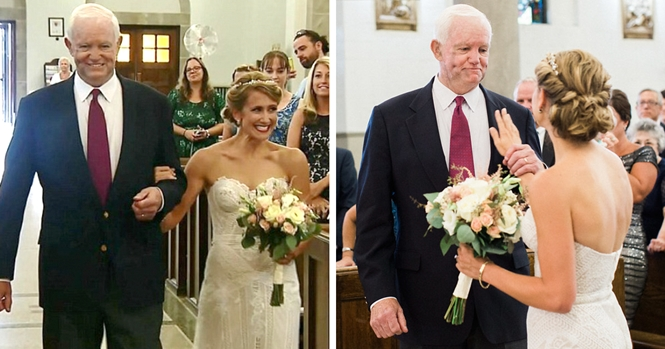 Transplantado do coração leva filha de seu doador ao altar durante comovente casamento