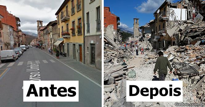 Fotos mostrando o antes e depois do terremoto na Itália