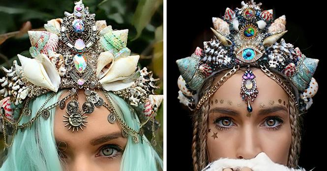 Coroas de sereia com conchas de verdade estão encantando a internet