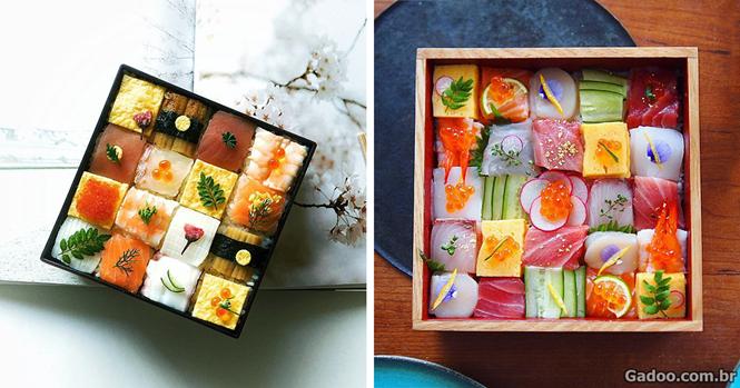 """""""Mosaico sushi"""" transforma almoço no Japão em verdadeiras obras de arte"""