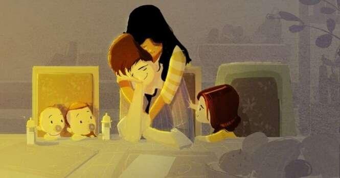 Ilustrações mostrando a magia da relação entre pais e filhos