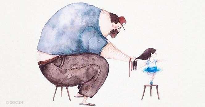 Ilustrações fofas mostrando a relação entre pais e filhas