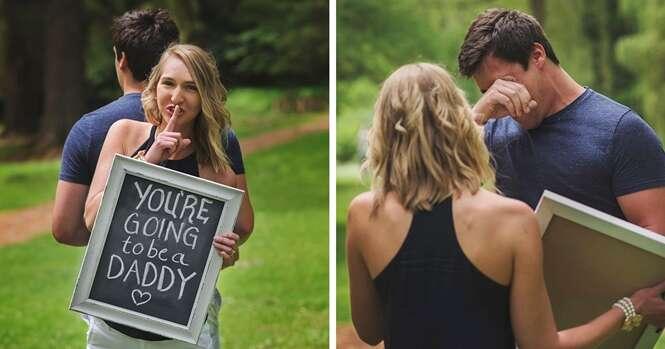 Esposa surpreende marido com notícia de gravidez durante sessão de fotos