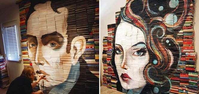 Artista cria pinturas impressionantes usando livros como telas