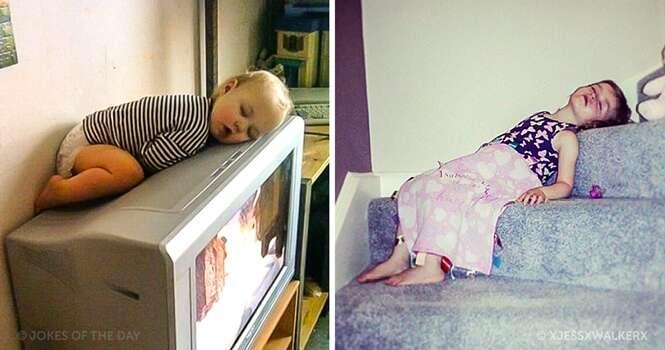 Fofuras que dormiram no momento mais inusitado possível