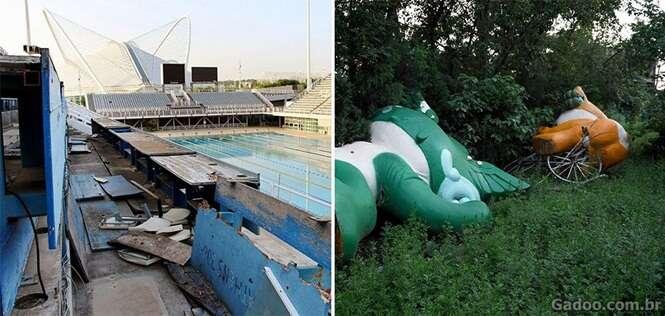 Construções olímpicas abandonadas e praticamente jogadas no lixo
