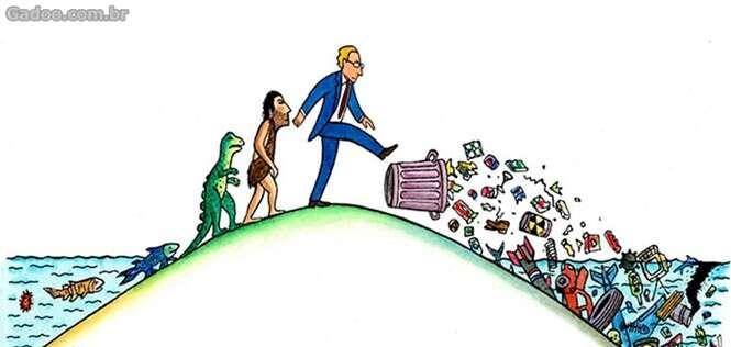 Sátiras questionando a evolução humana