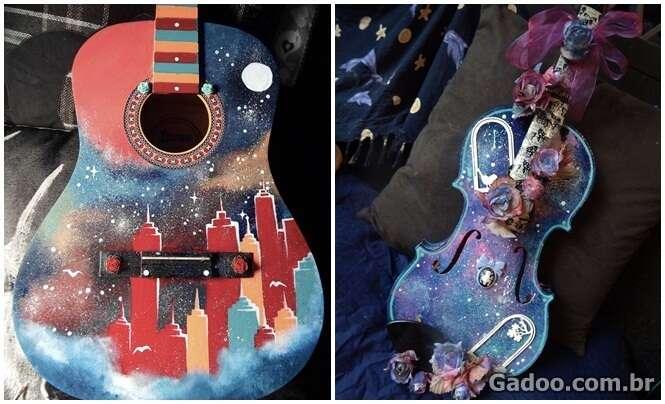 Artista usa instrumentos musicais como telas para suas pinturas