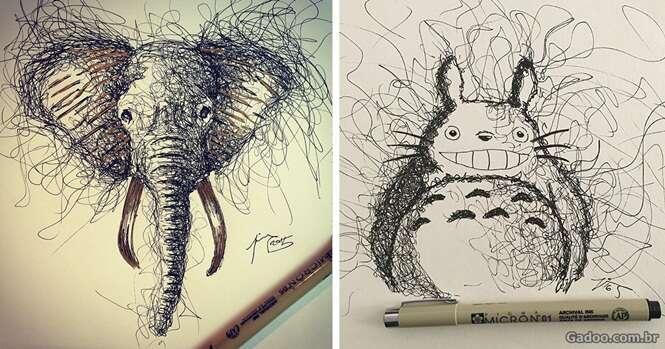 Artista cria desenhos incríveis a partir de rabiscos acidentais