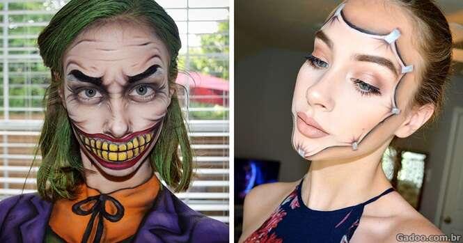 Garota descobre talento incrível criando arte no rosto com maquiagem