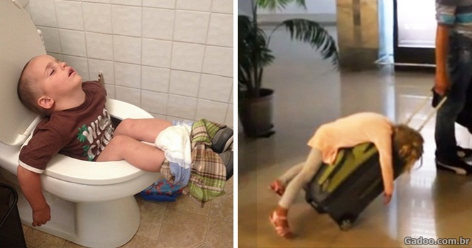 Imagens provando que as crianças dormem em qualquer lugar