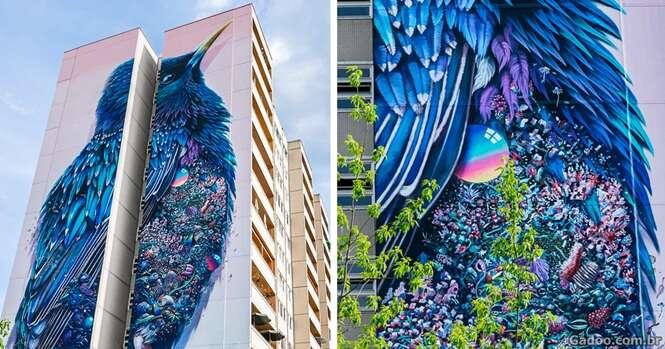 Artistas criam mural gigante em fachada de prédio com ajuda de pedras preciosas