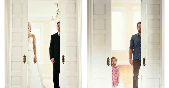 Homem recria fotos de casamento com sua filha após esposa falecer