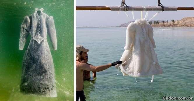 Artista deixa vestido no Mar Morto por 2 anos e peça fica incrivelmente cristalizada