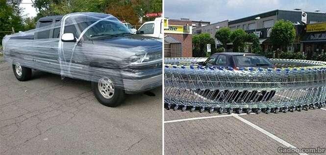 Imagens de vinganças satisfatórias contra motoristas folgados que não sabe estacionar