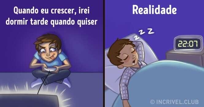 Ilustrações mostrando a realidade da vida adulta